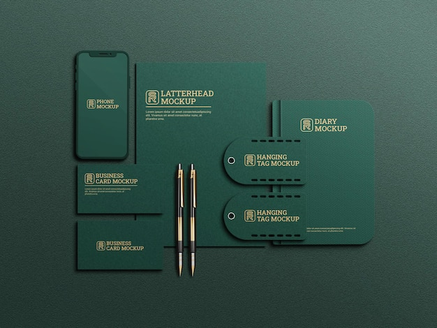 Maquete de papelaria de cor verde escuro