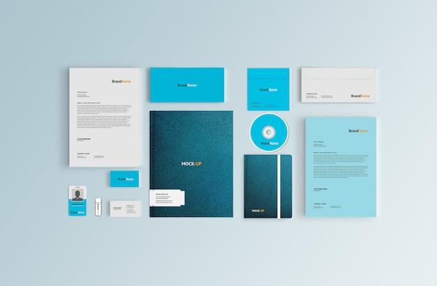 Maquete de papelaria de couro para identidade visual corporativa, vista superior