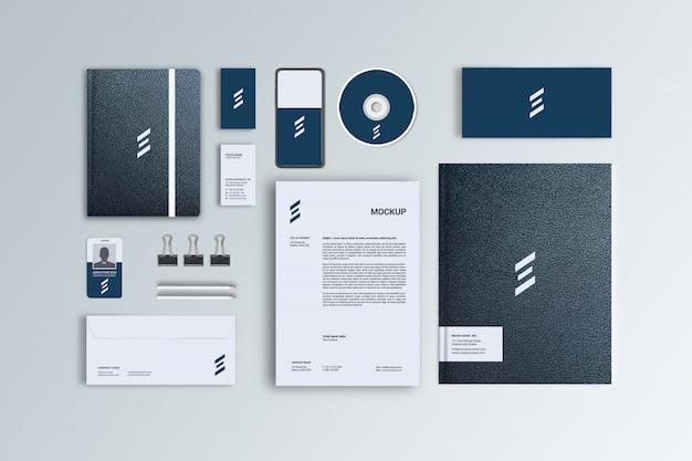 Maquete de papelaria de couro preto para identidade visual corporativa, vista superior