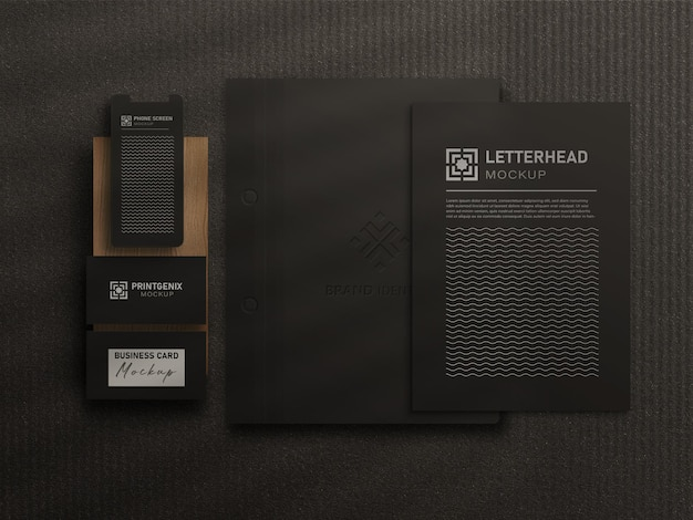Maquete de papelaria de escritório preto de luxo com fundo preto