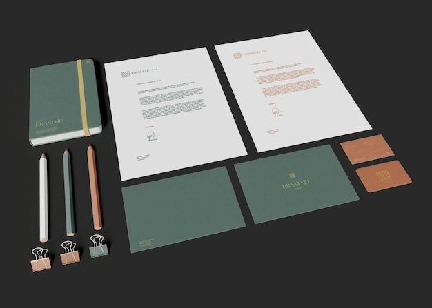 Maquete de papelaria de escritório Psd Premium