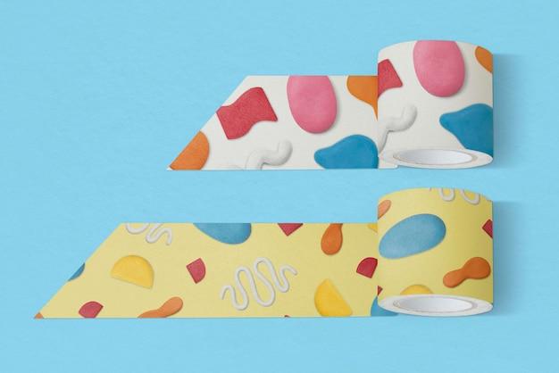 Maquete de papelaria de fita washi psd com padrão abstrato de argila de plasticina