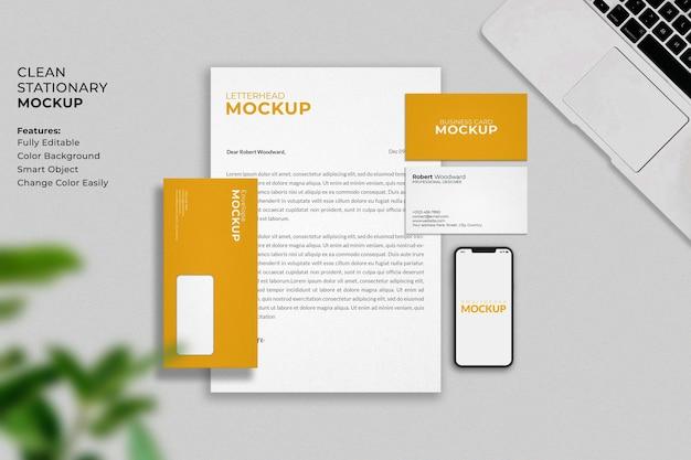 Maquete de papelaria empresarial moderna