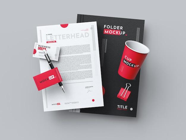 Maquete de papelaria empresarial