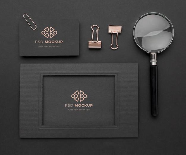 Maquete de papelaria escura e cobre