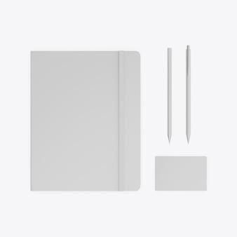 Maquete de papelaria isolada