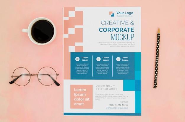 Maquete de papelaria plana para negócios