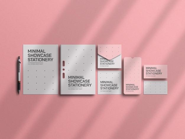 Maquete de papelaria rosa mínimo
