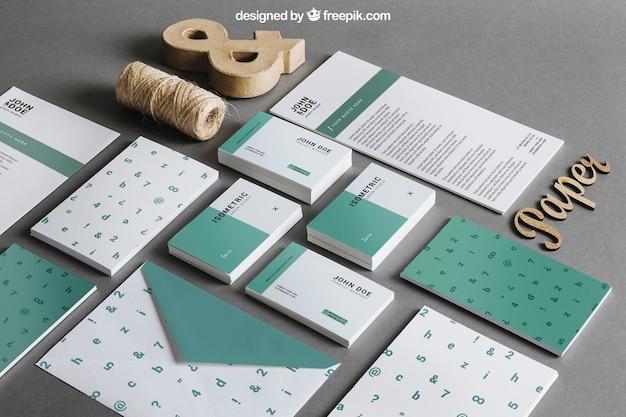Maquete de papelaria verde