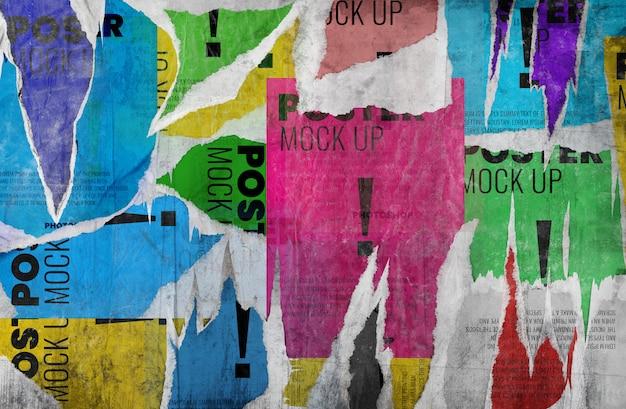 Maquete de parede antigo cartaz rasgado grunge realista