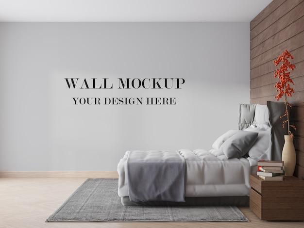 Maquete de parede ao lado de uma cama moderna com cabeceira alta