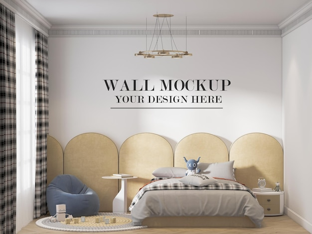 Maquete de parede atrás da cabeceira da cama amarela