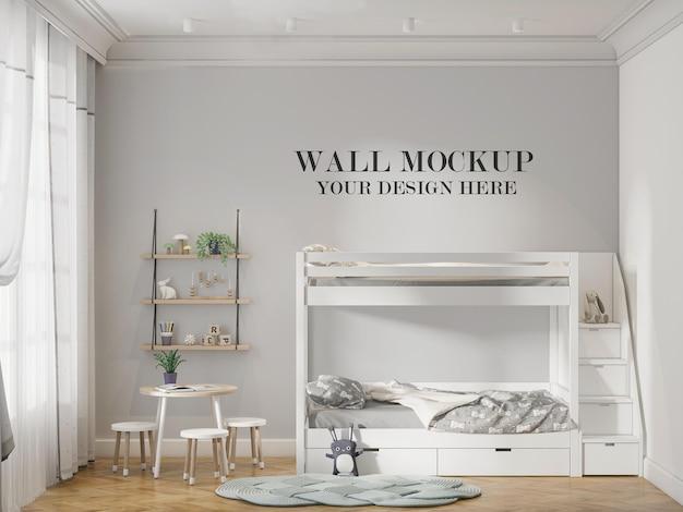 Maquete de parede atrás da cama de bebê branca