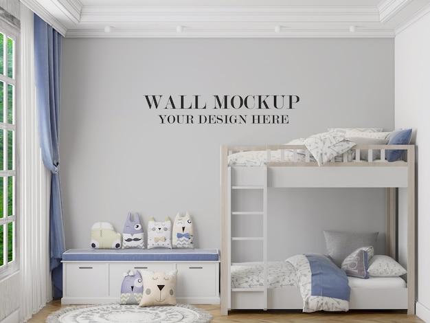 Maquete de parede atrás da cama de beliche