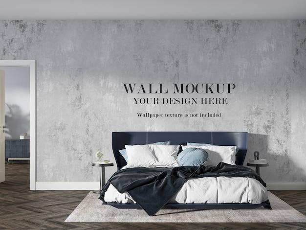 Maquete de parede atrás da cama e móveis