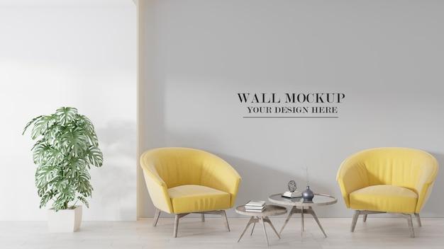 Maquete de parede atrás de poltronas amarelas