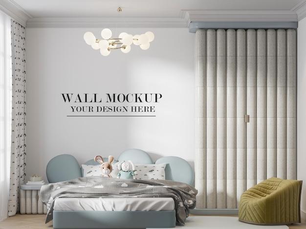 Maquete de parede atrás de um elegante mobiliário de quarto infantil