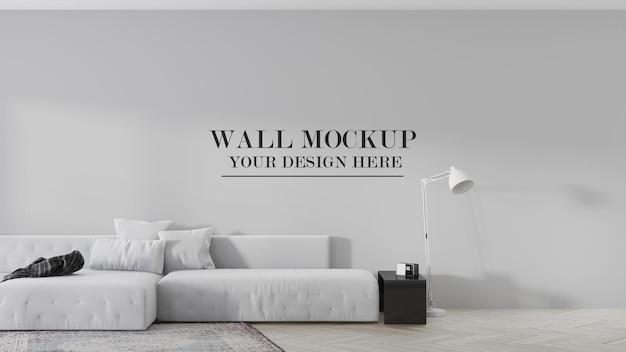 Maquete de parede atrás de um grande sofá para suas texturas de papel de parede
