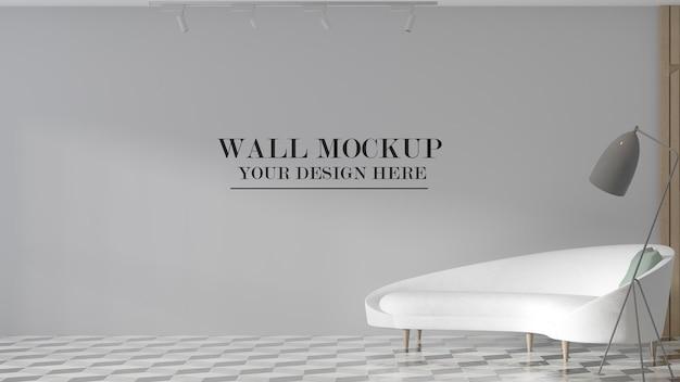 Maquete de parede atrás de um sofá branco moderno