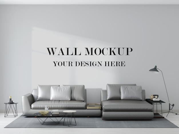 Maquete de parede atrás de um sofá de couro prateado em renderização 3d