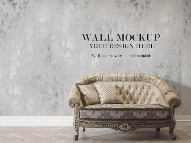 Maquete de parede atrás do design clássico do sofá
