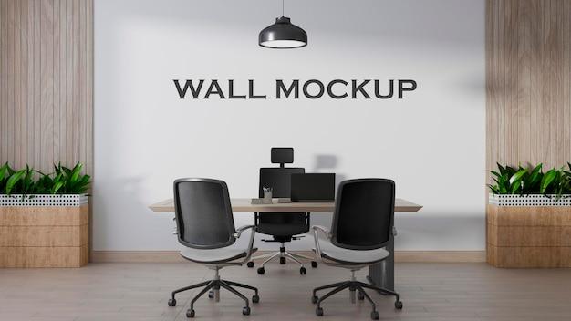 Maquete de parede com design de escritório em estilo moderno