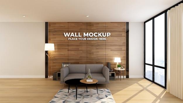 Maquete de parede com fundo de parede de madeira
