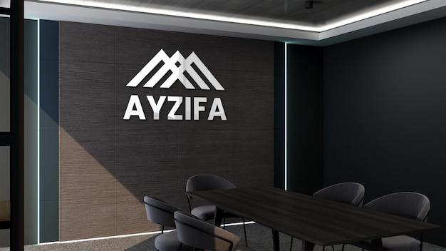 Maquete de parede com logotipo 3d de sala de reunião com design moderno