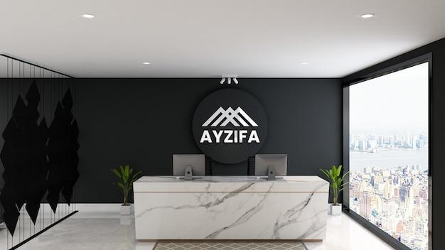 Maquete de parede com logotipo 3d luminoso em balcão de recepção minimalista e moderno