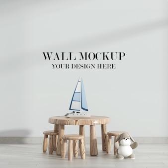 Maquete de parede com móveis rústicos
