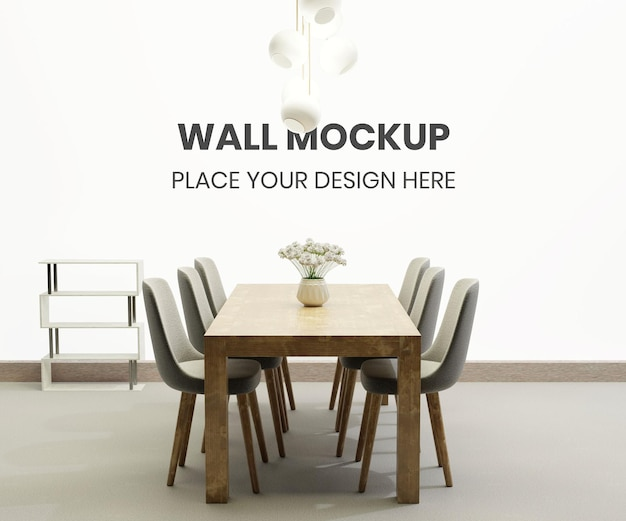 Maquete de parede com sala de jantar minimalista