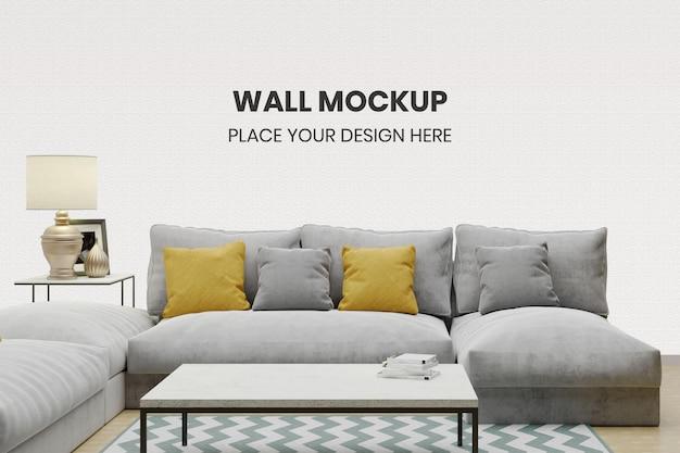 Maquete de parede com sofá minimalista na sala