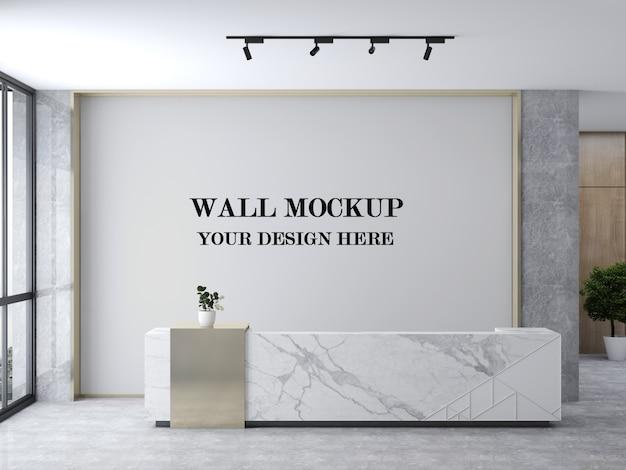 Maquete de parede da área de recepção moderna e iluminada