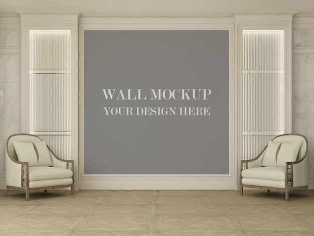Maquete de parede da elegante sala de estar com poltronas
