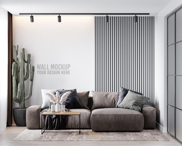 Maquete de parede da sala de estar interna
