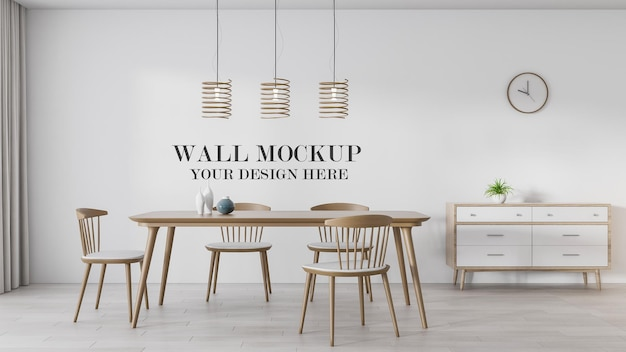 Maquete de parede da sala de jantar com renderização em 3d