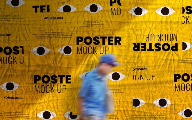 Maquete de parede de cartaz de publicidade impressa