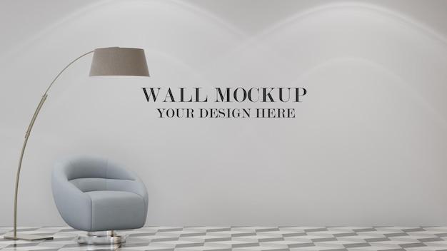 Maquete de parede de cena de renderização 3d com lâmpada e poltrona no interior