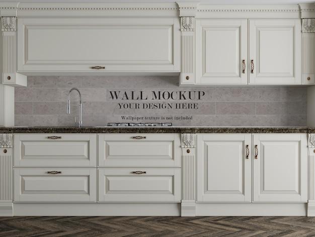Maquete de parede de cozinha clássica com acessórios