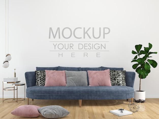 Maquete de parede de interior de sala de estar moderna