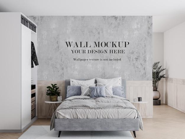 Maquete de parede de quarto bem iluminado com móveis modernos