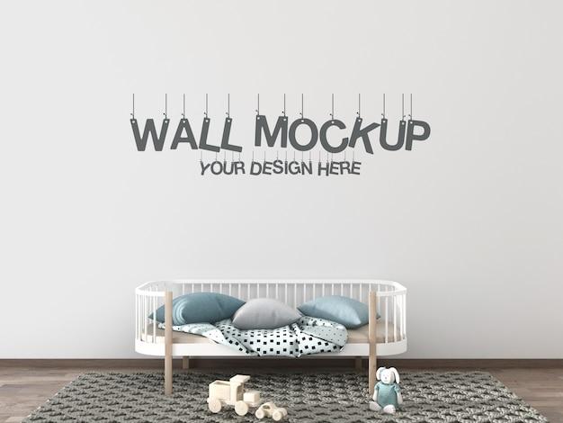 Maquete de parede de quarto de crianças com cama, travesseiros e brinquedos