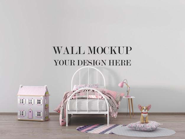 Maquete de parede de quarto de crianças com móveis e casa de bonecas