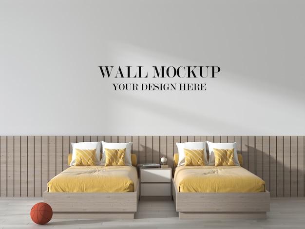 Maquete de parede de quarto duplo em estilo moderno