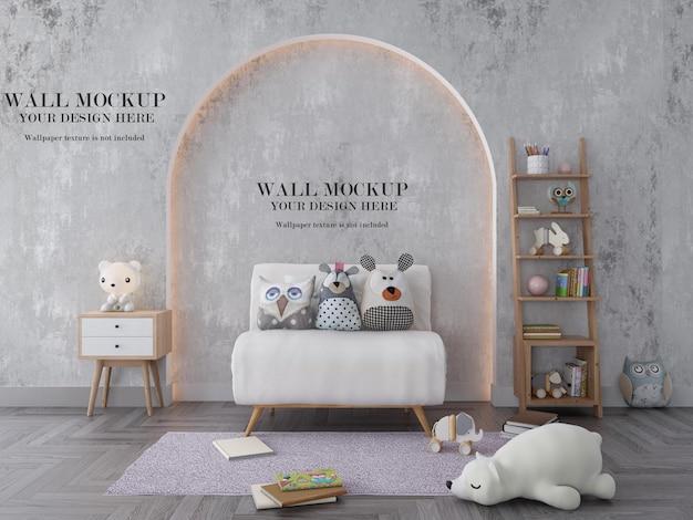 Maquete de parede de quarto infantil aconchegante