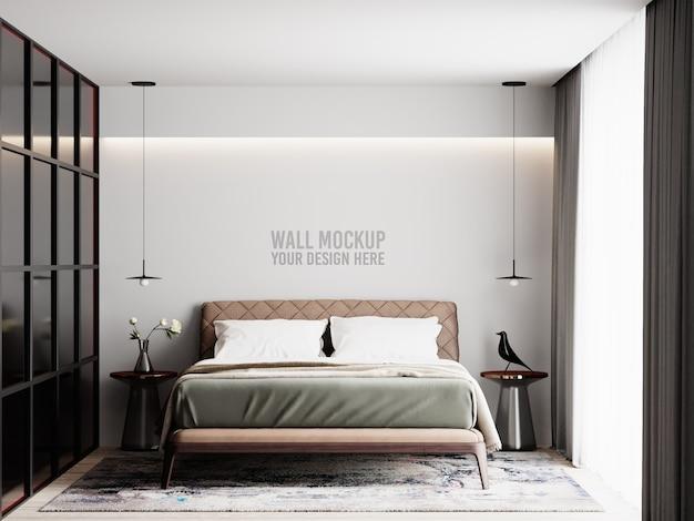 Maquete de parede de quarto interior moderno com decorações