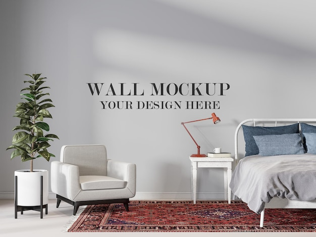 Maquete de parede de quarto moderno de meados do século