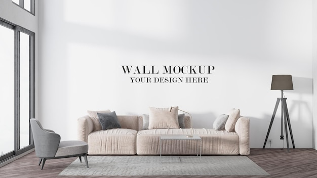 Maquete de parede de quarto moderno e luminoso