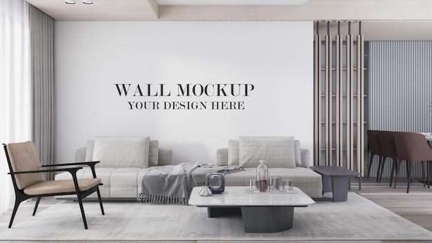 Maquete de parede de sala de estar moderna e brilhante em renderização em 3d