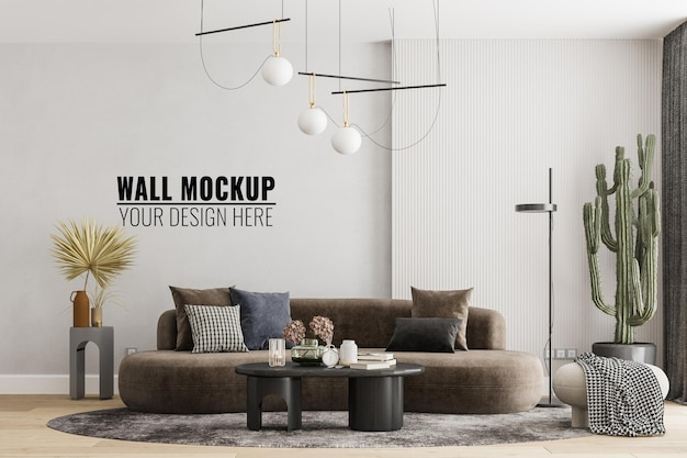 Maquete de parede de sala de estar moderna interna